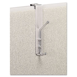 Safco Over The Panel Double Coat Hook, Satin Aluminum Base with Chrome Hooks