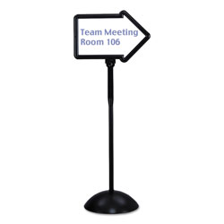 Safco Double-Sided Arrow Sign, Dry Erase Magnetic Steel, 25 1/2 x 60, Black Frame