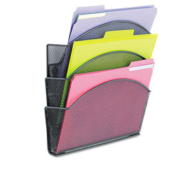 Safco Magnetic Triple File Pocket, Steel, Black