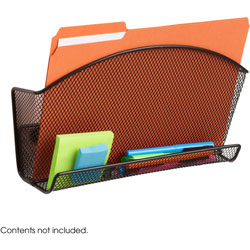 Safco Magnetic File Pocket, with Organizer, Steel, Black