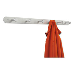 Safco Six Hook Nail Head Coat Rack, Aluminum Finish, 36w x 2 3/4d x 2h