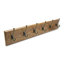 Safco Wood Wall Rack, 35 1/2w x 3d x 7h, 6 Brass Hooks, Medium Oak Finish