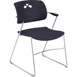 "Safco Back Stack Chair w/ Arms, 21-1/4""x22""x32-1/2"", Black"
