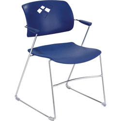 "Safco Back Stack Chair w/ Arms, 21-1/4""x22""x32-1/2"", Blue"
