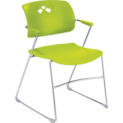 "Safco Back Stack Chair w/ Arms, 21-1/4""x22""x32-1/2"", Grass Green"