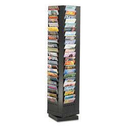 Safco Steel Rotary Magazine Rack, 92 Pockets, 14 x 14 x 68, Black