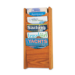 "Safco Literature Display Rack, 5 Pockets, 11"" x 3-3/4"" x 24"", Medium Oak"