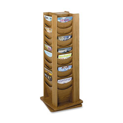 "Safco Mocha 48 Pocket Rotating Wood Display, 16 3/4"" x 16 3/4"" x 49 1/2"""
