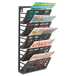 Safco Grid Magazine Rack, 5 Compartments, 9-1/2w x 5-1/2d x 21-1/2h, Black