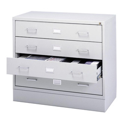 Safco A/V Microform Multimedia Storage Cabinet, 4 Drawer, Stackable, Light Gray