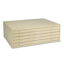 Safco Five Drawer Steel Flat File, Stackable, For Sheets to 43 x 32, Tropic Sand