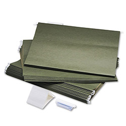 Safco Hanging File Folders for Rolling Project File, 18 x 14, Green, 25 per Box