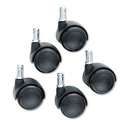 Safco Hard Floor Casters for Workbench Chairs, Black, Set of 5