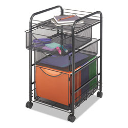 Safco Mesh Mobile File w/Two Supply Drawers, 15-1/2 x 17-1/4 x 27-1/4, Black