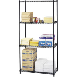 "Safco Commercial Wire Shelving Unit, 36"" x 18"", 4 Shelves, Black"