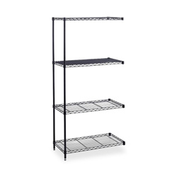 "Safco Industrial Wire Shelving Add-On, 36"" x 24"", 4 Shelves, Black"