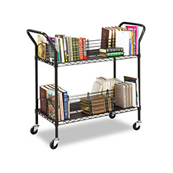 "Safco Wire Book Cart, Double Sided, 34""x19-1/4""x40-1/2"", Black"
