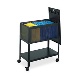 Safco Steel Mesh File Cart with Lid, Black