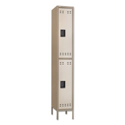 "Safco Double Tier Locker, One-Wide w/Legs, 12"" x 18"" x 78"", Tan"