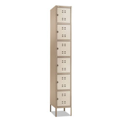"Safco 6-Tier Locker, One-Wide w/Legs, 12"" x 18"" x 78"", Tan"