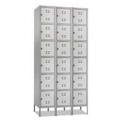 "Safco 6-Tier Locker, Three Wide w/Legs, 36"" x 18"" x 78"", Gray"