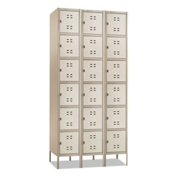 "Safco 6-Tier Locker, Three Wide w/Legs, 36"" x 18x78"", Tan"