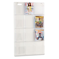 Safco Clear Plastic Literature Display Wall Rack for 12 Magazines, 30w x 49h