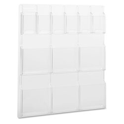 Safco Clear Plastic Literature Display Wall Rack for 6 Pamp./6 Mag., 30w x 34 3/4h
