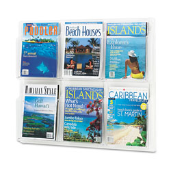 Safco Clear Plastic Literature Display Wall Rack for Six Magazines, 30w x 24 5/8h