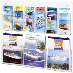 "Safco Magazine/Pamphlet Display, 9 Pockets, 28"" x 3"" x 23-1/2"" Clear"