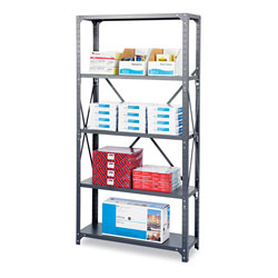 "Safco Commercial Open Shelving Unit, 36"" x 18"", 5 Shelves, Gray"