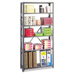 "Safco Commercial Open Shelving Unit, 36"" x 12"", 6 Shelves, Gray"