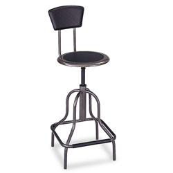 Safco Diesel Industrial Stool with Back, High Base, Black Leather Seat & Back Pad