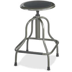 Safco Diesel Backless Industrial Stool, High Base, Black Leather Seat