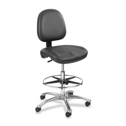 "Safco Stool Chair, Gel-Filled, Seat/Back Adjustment, 24""x24""x22-32, BK"