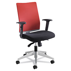 Safco Tez Series Manager Synchro-Tilt Task Chair, Black Mesh Back, Red Fabric Seat