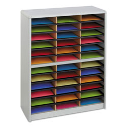 Safco Literature Organizer, Steel/Fiberboard, 36 Compartment, Gray