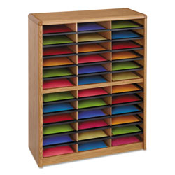 Safco Literature Organizer, Steel/Fiberboard, 36 Compartment, Medium Oak