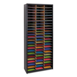 Safco Literature Organizer, Steel/Fiberboard, 72 Compartments, Black