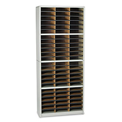 Safco Literature Organizer, Steel/Fiberboard, 72 Compartments, Gray
