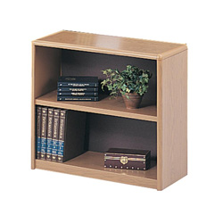 Safco Value Mate Series Steel Two Shelf Bookcase, 31 3/4w x 13 1/2d x 28h, Medium Oak