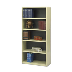 Safco Value Mate Series Steel Five Shelf Bookcase, 31 3/4w x 13 1/2d x 67h, Sand