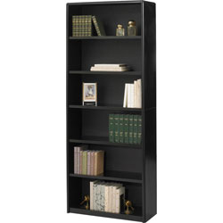 Safco Value Mate Series Steel Six Shelf Bookcase, 31 3/4w x 13 1/2d x 80h, Black