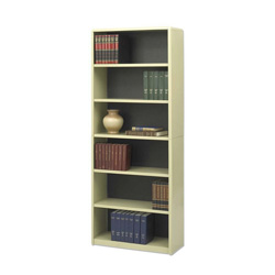 Safco Value Mate Series Steel Six Shelf Bookcase, 31 3/4w x 13 1/2d x 80h, Sand