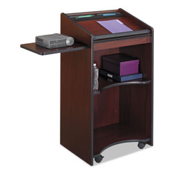 Safco Executive Mobile Lectern with Pullout Side Shelf, Mahogany