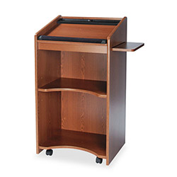 Safco Executive Mobile Lectern with Pullout Side Shelf, Medium Oak