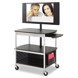 "Safco Open Multimedia Cart, 39-1/2"" x 27"" x 37-1/4"", Black/Silver"