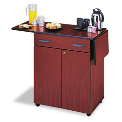 Safco Hospitality Service Cart with Drop Leaves, Drawer & Locking Cabinet, Mahogany