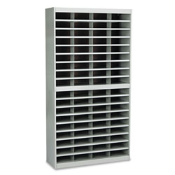 "Safco Steel Literature Center, Letter, 72 Compartments, 71""h, Gray"