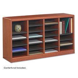 "Safco Literature Organizer, 24 Compartment, 40"" x 11 3/4"" x 23"", Cherry"
